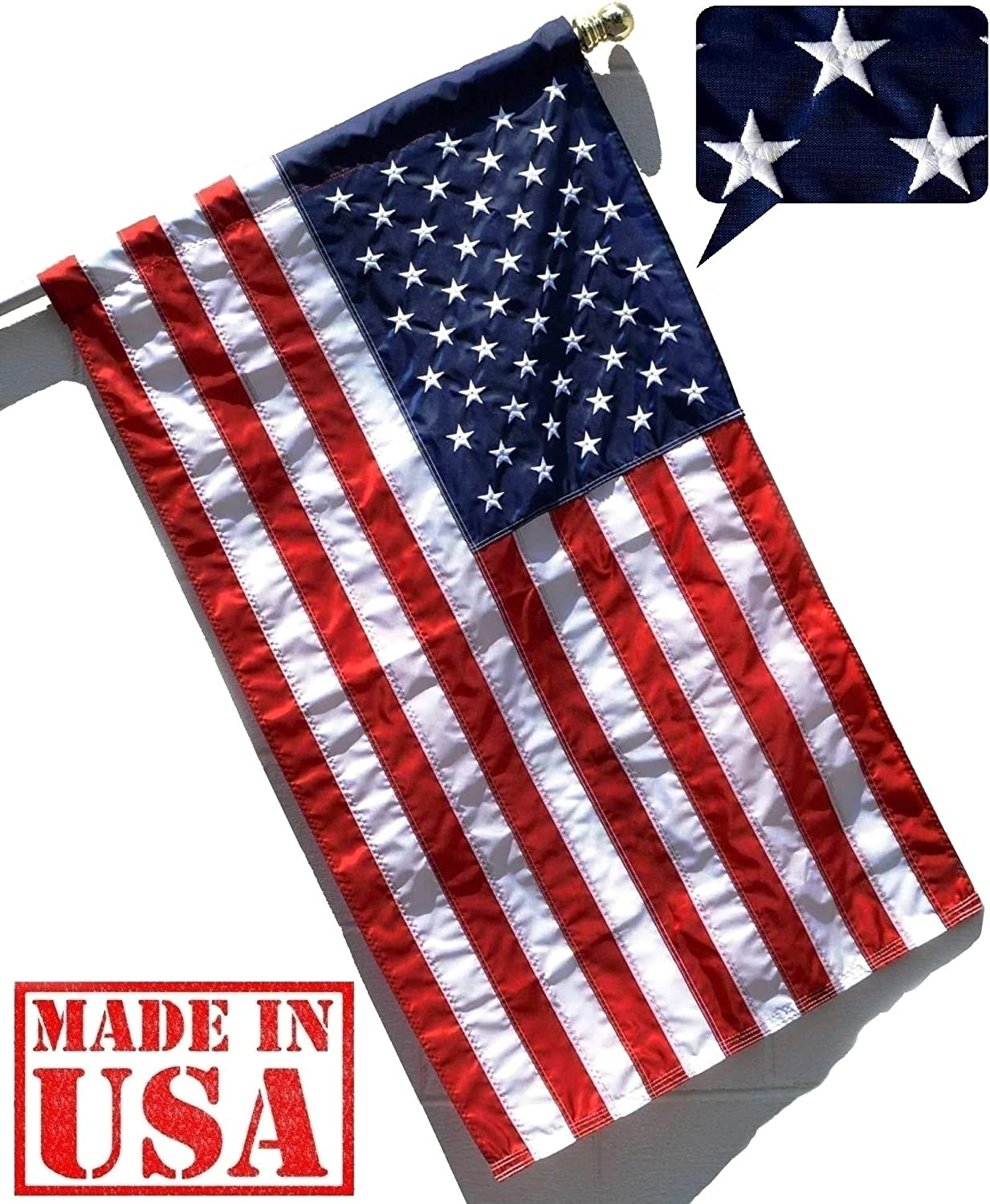 US Flag Factory - 2.5x4 FT American Flag (Sleeved) (Embroidered Stars, Sewn Stripes) - Outdoor SolarMax Nylon - 100% Made in America