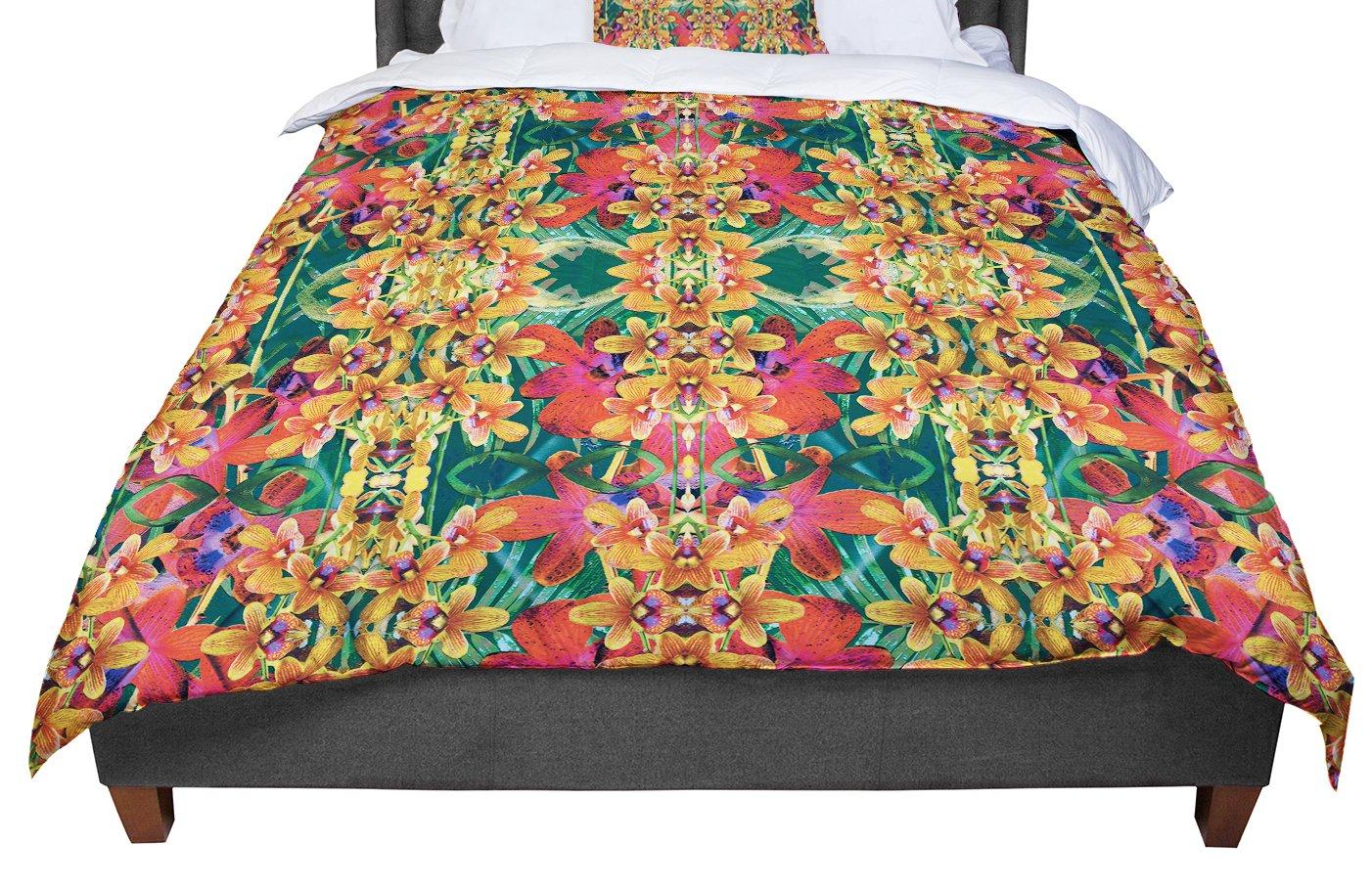 KESS InHouse Dawid Roc Tropical Floral Orange Pink Twin Comforter 68 X 88