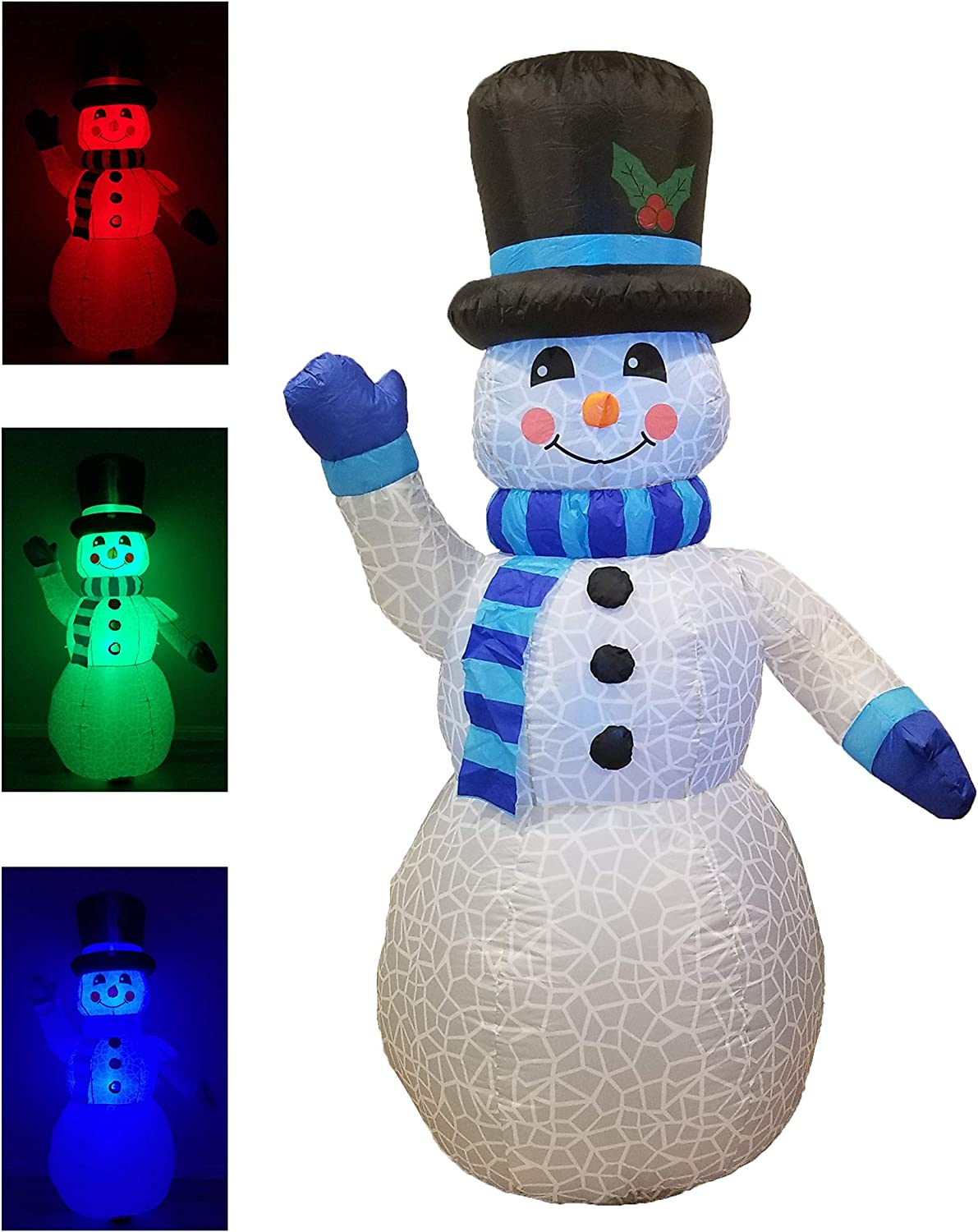 6 Foot Tall Christmas Inflatable Snowman Multi Color LED Lights Decor Outdoor Indoor Holiday Decorations, Blow Up LED Lighted Christmas Yard Decor, Giant Lawn Inflatable for Home Family Outside