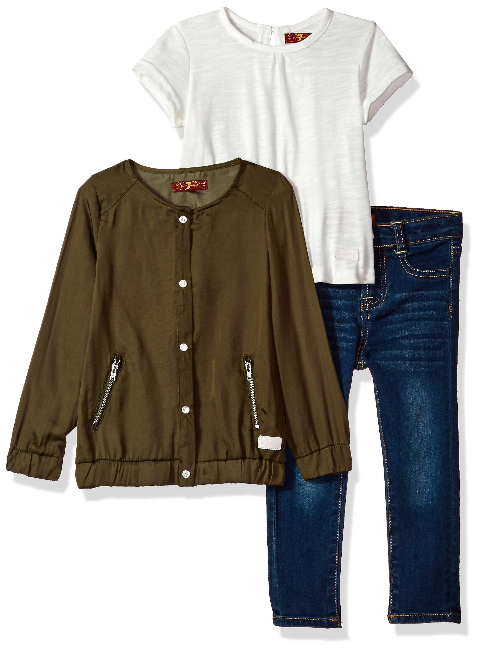7 For All Mankind Toddler Girls' Jacket, Knit Top and Pant Set (More Styles Available), G3282-Agavegreen, 4T