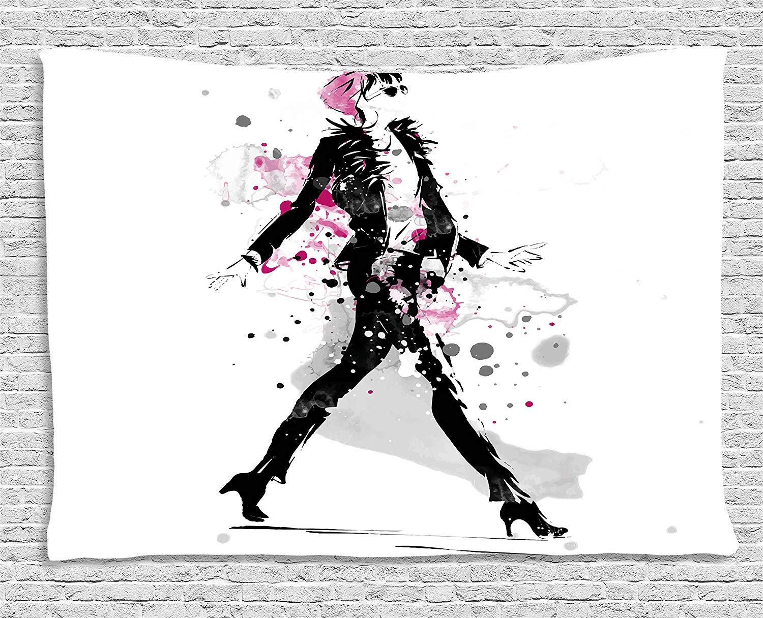 THndjsh Fashion Tapestry, Glamorous Stylish Sexy Woman Model on Catwalk Runway in Vintage Clothes Design, Wall Hanging for Bedroom Living Room Dorm, 60 W X 40 L Inches, Black Pink