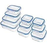 Zestkit Contenitori Alimentari Vetro, Set 10 Pezzi Contenitore per Alimenti Ermetici, Lunch Box Senza BPA, Compatibili Con Frigorifero/Microonde/Freezer/Lavastoviglie(6 Quadrati & 4 Rettangolari)