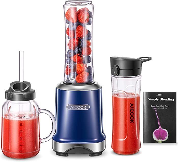 Personal Blender, Aicook Smoothie Blender with Stylish Mason Cup & Travel Bottle and Lids, Small Blender for Shakes and Smoothies with 4D Blades, Bonus Reusable BPA-Free Straw & Recipe, Cobalt Blue
