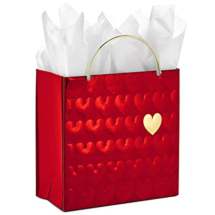 Hallmark Signature Small Valentines Day Gift Bag with Tissue Paper (Red Hearts)