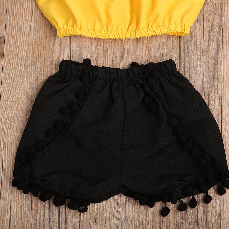 a25878e6102 Amazon.com  HappyMA Infant Toddler Baby Girls Summer Outfit Sleeveless  Ruffle Blouse Tube Top+High Waist Pom Pom Tassels Shorts  Clothing