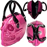 Pink Skull Purse Goth Chic Style Kreepsville Latex Bowler Bag Halloween Handbag