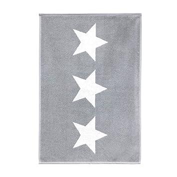 Linnea Stars - Alfombra de baño (50 x 70 cm, 100% algodón, 700 g/m2, diseño de estrellas), color gris: Amazon.es: Hogar