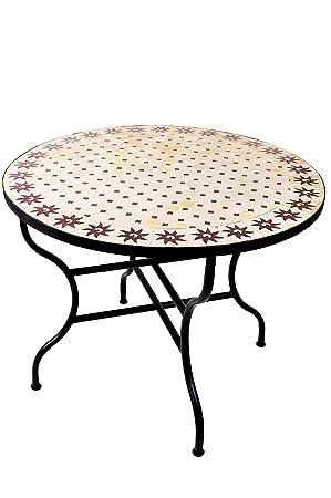 Marocain Table de jardin en mosaïque ronde pliante Ø 100 cm ...