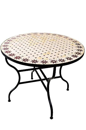 Elegant ORIGINAL Marokkanischer Mosaiktisch Gartentisch ø 100cm Groß Rund Klappbar  | Runder Klappbarer Mosaik Esstisch Mediterran |