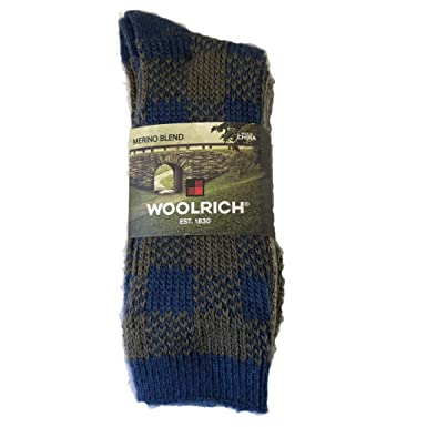 b82c0f86e706a Amazon.com: Woolrich Wool Ragg Socks 2 Pack, Large, Navy Plaid Crew For Men  and Women: Clothing