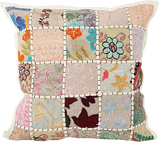 Handmade Suzani Ethnic Vintage Cushion Cotton Covers Embroidery Mirror 17x17