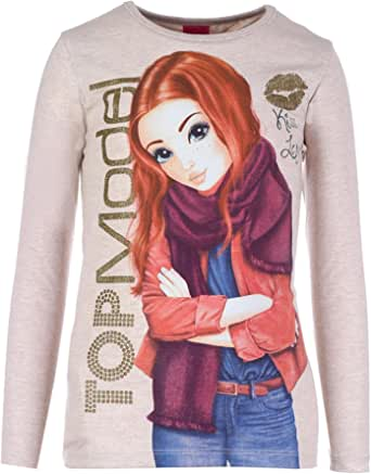 Top Model Pullover Top For Girls, 10-11 Years, Beige