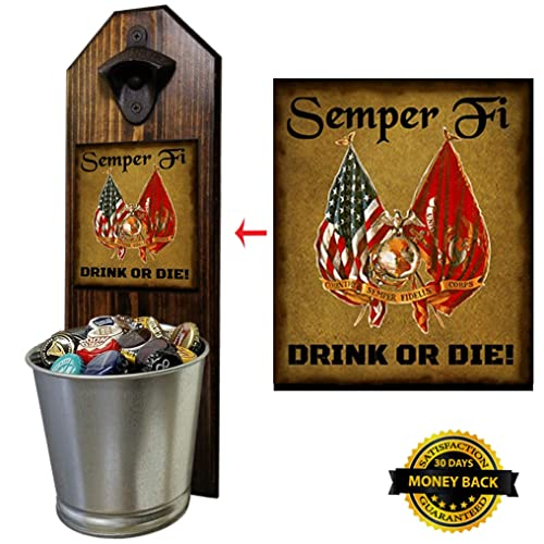 """Semper Fi"" Bottle Opener and Cap Catcher, Wall Mounted"