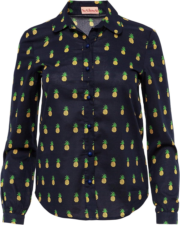 Trakabarraka Heras Camisa, Azul Marino con Estampado de piñas Amarillas, XS para Mujer: Amazon.es: Ropa y accesorios