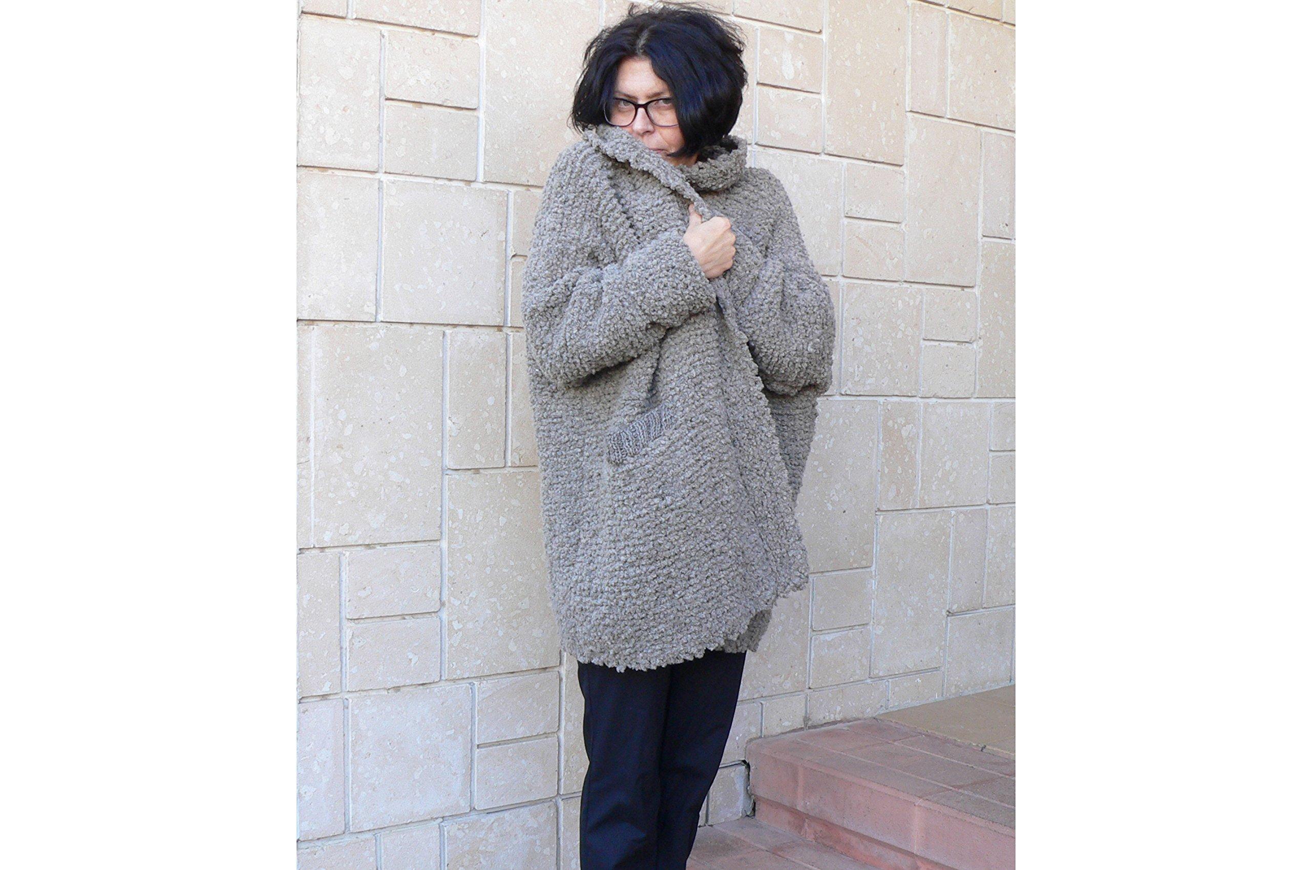 Women Alpaca Wool Coat Cardigan & Pockets