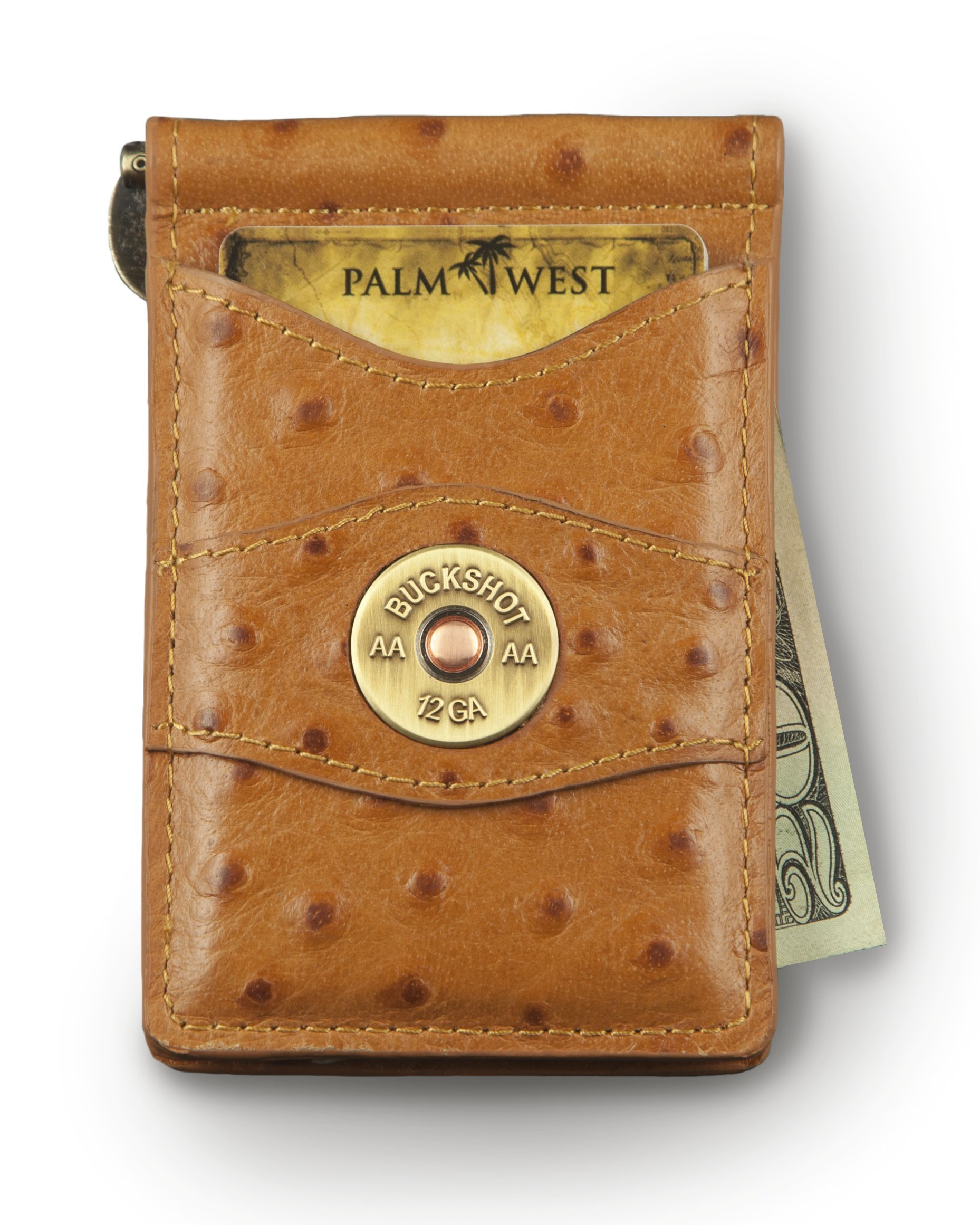 Palm West Leather Minimalist Leather Money Clip Wallet with RFID - Medal (Natural Ostrich Print Leather, 12 Gauge Medallion)