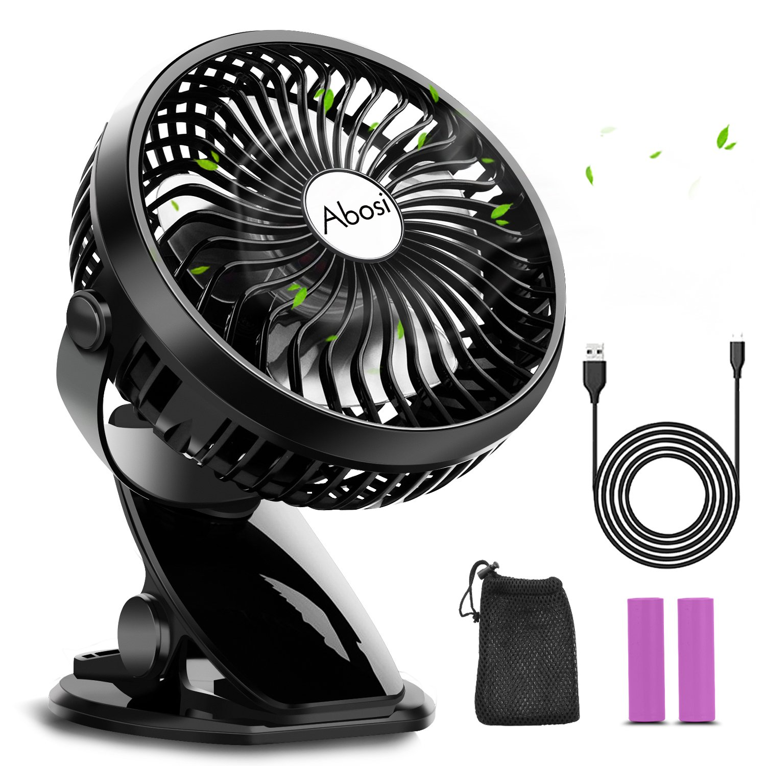 Stroller Fan,Clip On Fan,Rechargeable Battery or USB Operated,360°Rotation,Adjustable Speed, Mini Portable Cooling Desk Fan for Baby,Car Seat,Gym,Travel,Office(2 pcs 2000mAh Batteries Included)