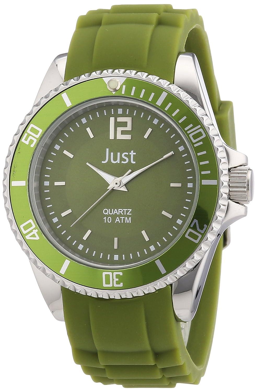 Just Watches 48-S3857-DGR - Reloj analógico de cuarzo unisex, correa de goma color verde