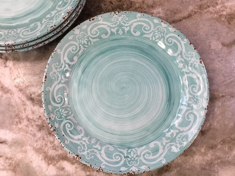 Nicole Miller Aqua Rustic Medallion Melamine Salad Plates, Set of Four