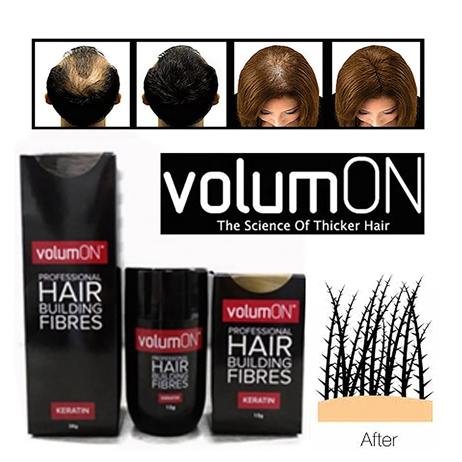 Volumon - Professional Hair Building Fibres - Keratin - Black - 28g: Amazon.es: Belleza