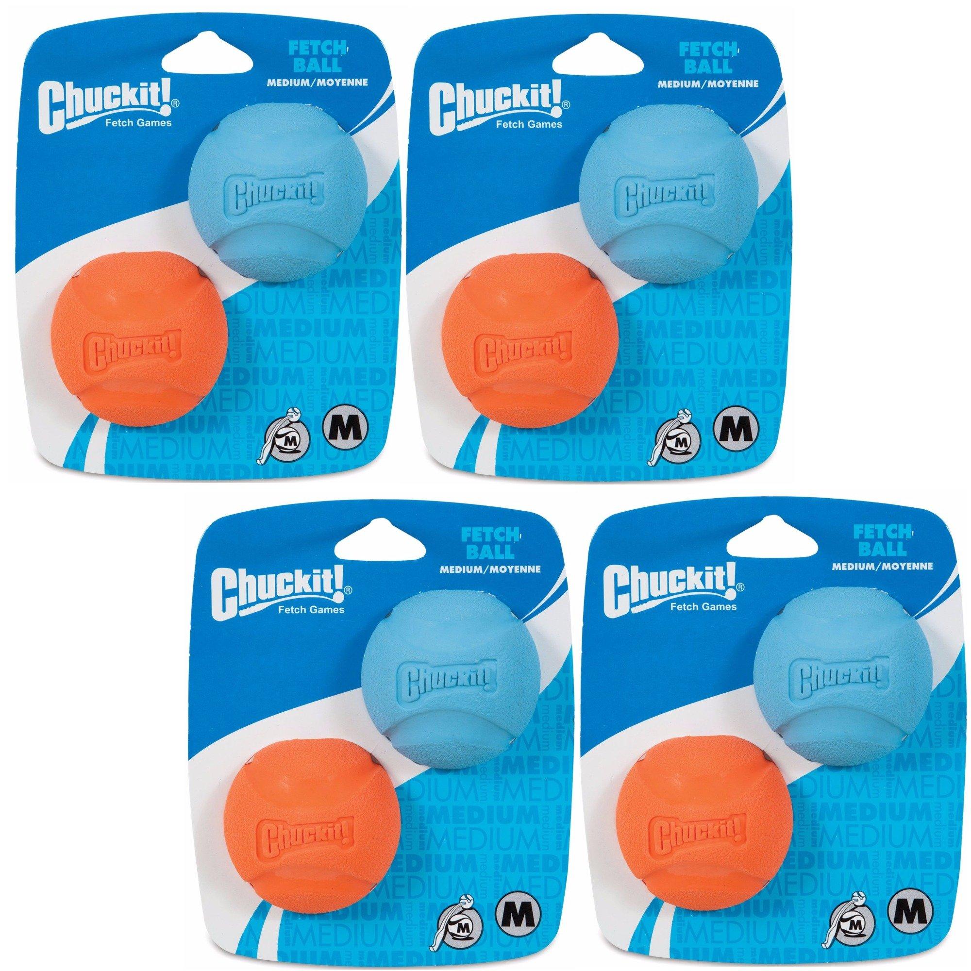 Chuckit! Dog Fetch Toy Fetch Ball Durable Rubber Fits Launcher Medium 8 Balls