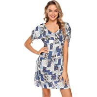 iClosam Vestidos de Playa Mujer Bohemios Verano Falda Floral Comodo para Vacaciones Viaje Playa mar Diario