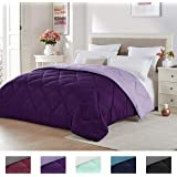 Seward Park Solid, Reversible Color Microfiber Comforter,Hypoallergenic Plush Microfiber Fill, Duvet Insert or Stand-Alone Comforter, Fall/Winter Blanket, King, Plum/Purple