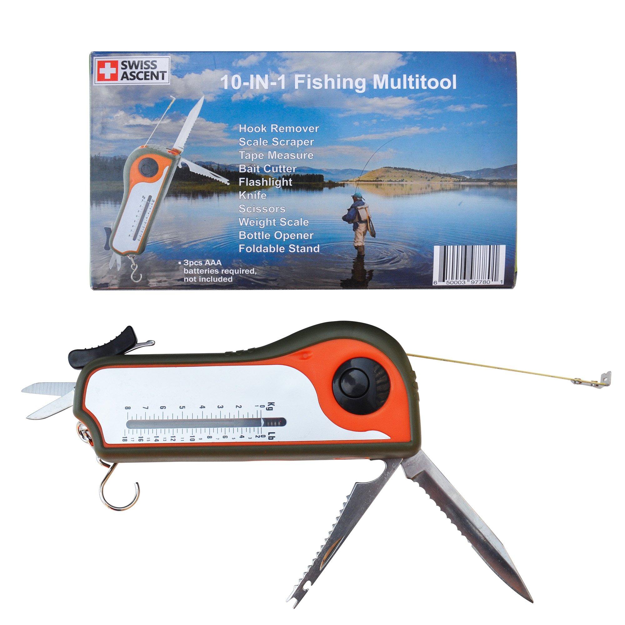 Fisherman Gift Tool Fishing Multitool - Hook Remover, Scale Scraper, Tape Measure, Bait Cutter, Flashlight, Knife, Scissors, Weight Scale, Bottle Opener, Gift Idea For Men Women Kids