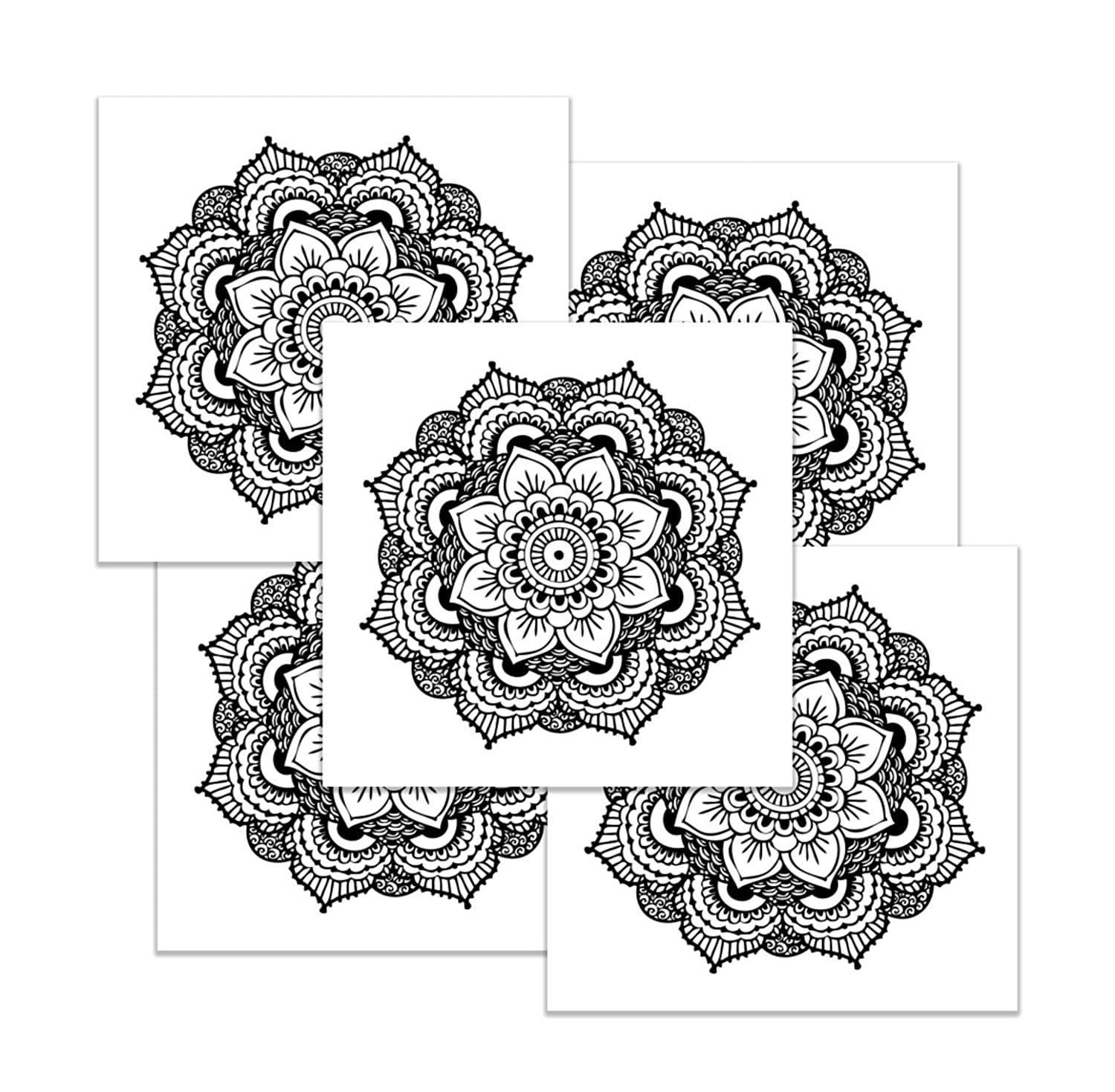 Mandala Temporary Tattoo Set - Realistic & Motivational Yoga Accessory and Gift - Made in the USA
