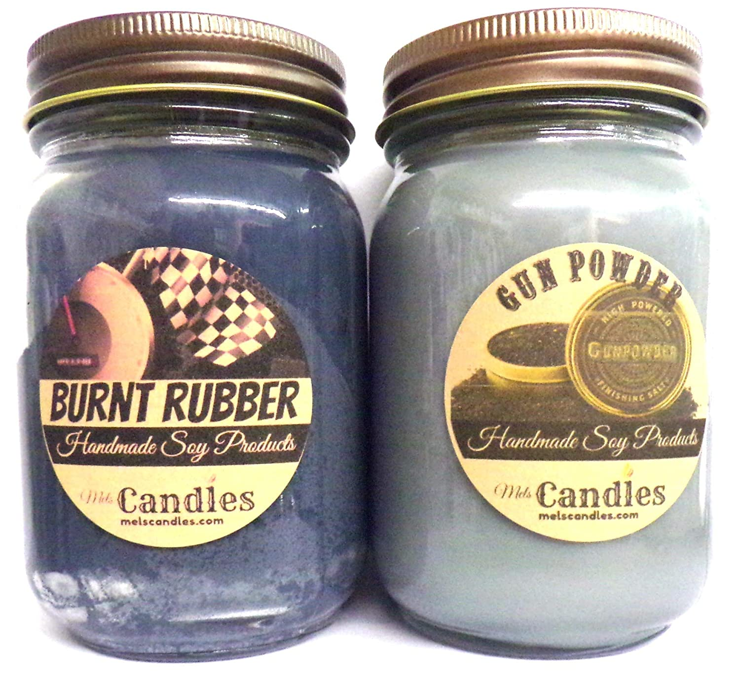 Combo - Burnt Rubber & Gun Powder Set of Two 16oz Country Jar Soy Candles Great Unique Scents