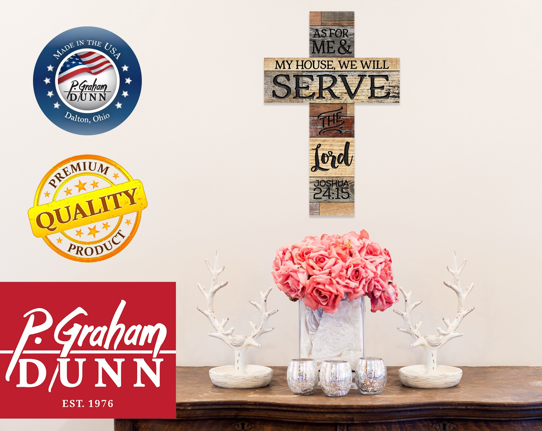 P. Graham Dunn As for Me & My House We Will Serve The Lord 36 x 24 Wood Wall Art Plaque Cross by P. Graham Dunn (Image #3)