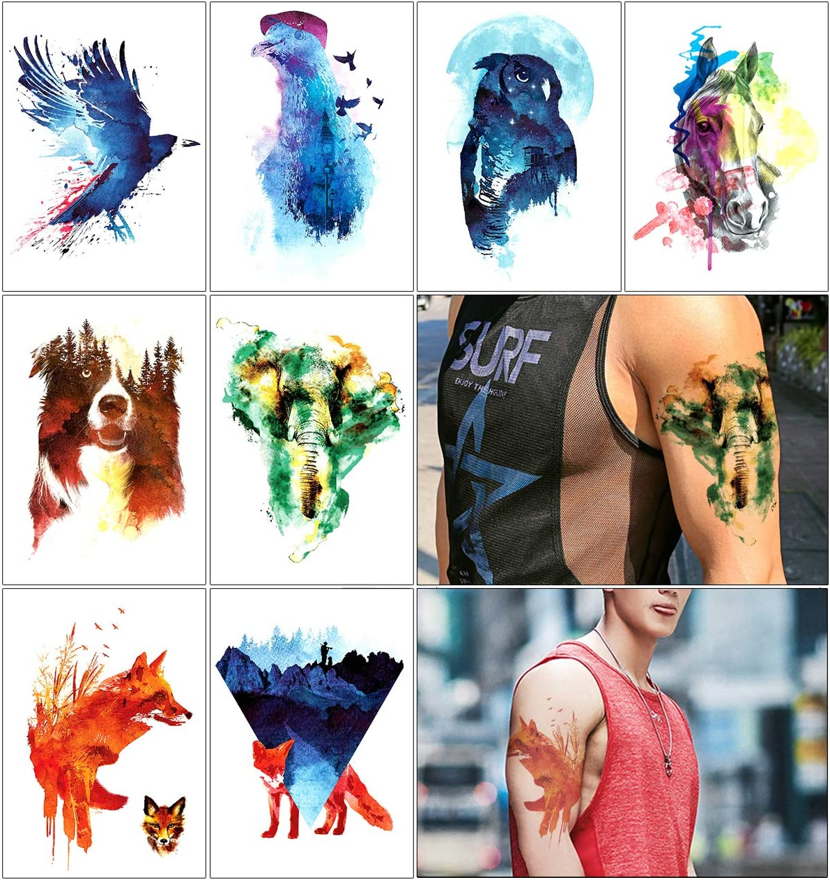 Oottati 8 Hojas Tatuajes Temporales Brazo Pierna Mano Dibujada ...