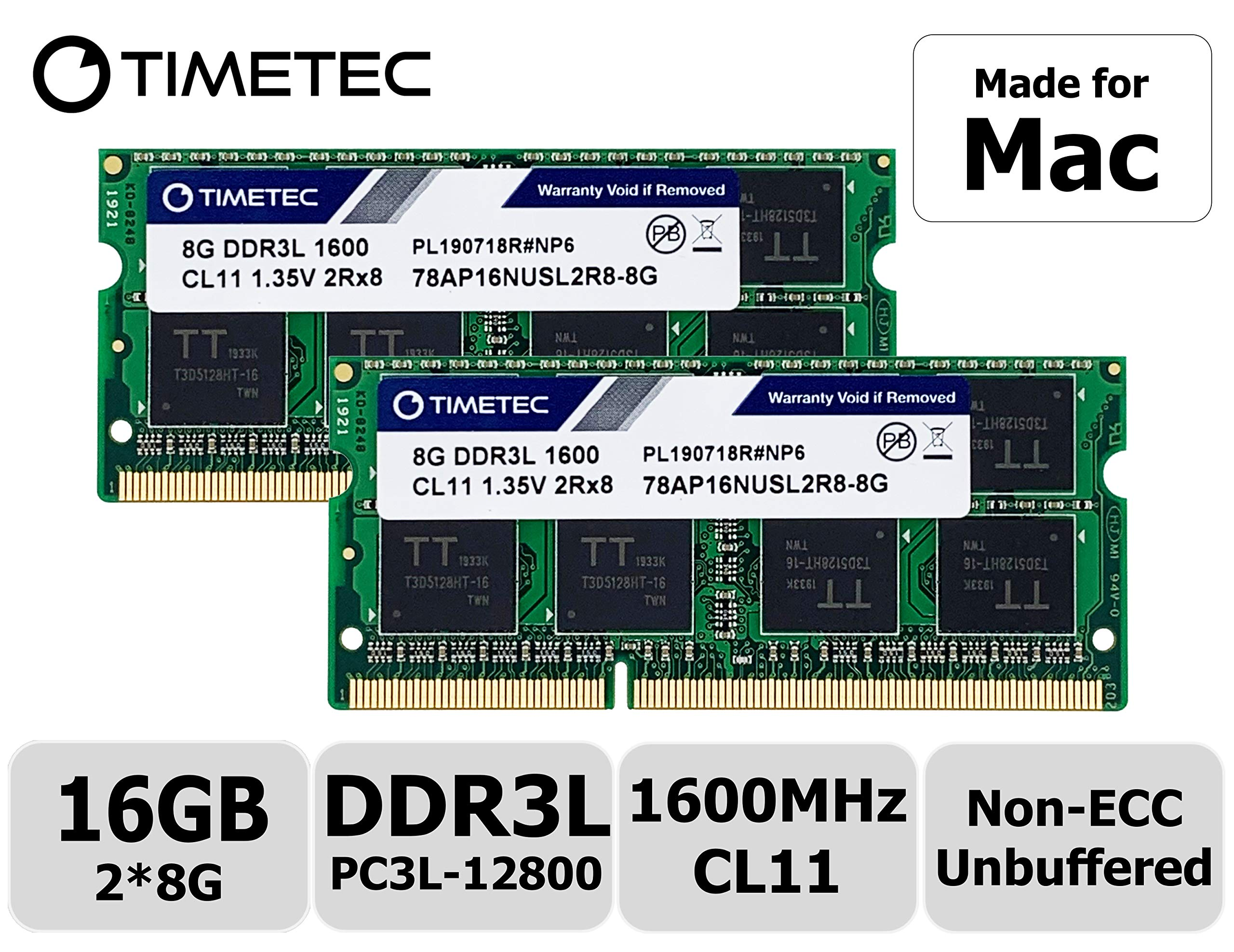 Timetec Hynix IC 16GB KIT(2x8GB) Compatible for Apple DDR3L 1600MHz PC3L-12800 for Early/Mid/Late 2011, Mid/Late 2012, Early/Late 2013, Late 2014, Mid 2015 MacBook Pro, iMac, Mac Mini(16GB KIT(2x8GB)) by Timetec