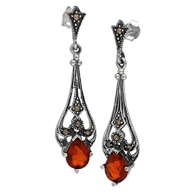 7cc6b1c44 Amazon.com: Vintage Reproduction Sterling Silver Teardrop Red Glass Marcasite  Earrings: Dangle Earrings: Jewelry