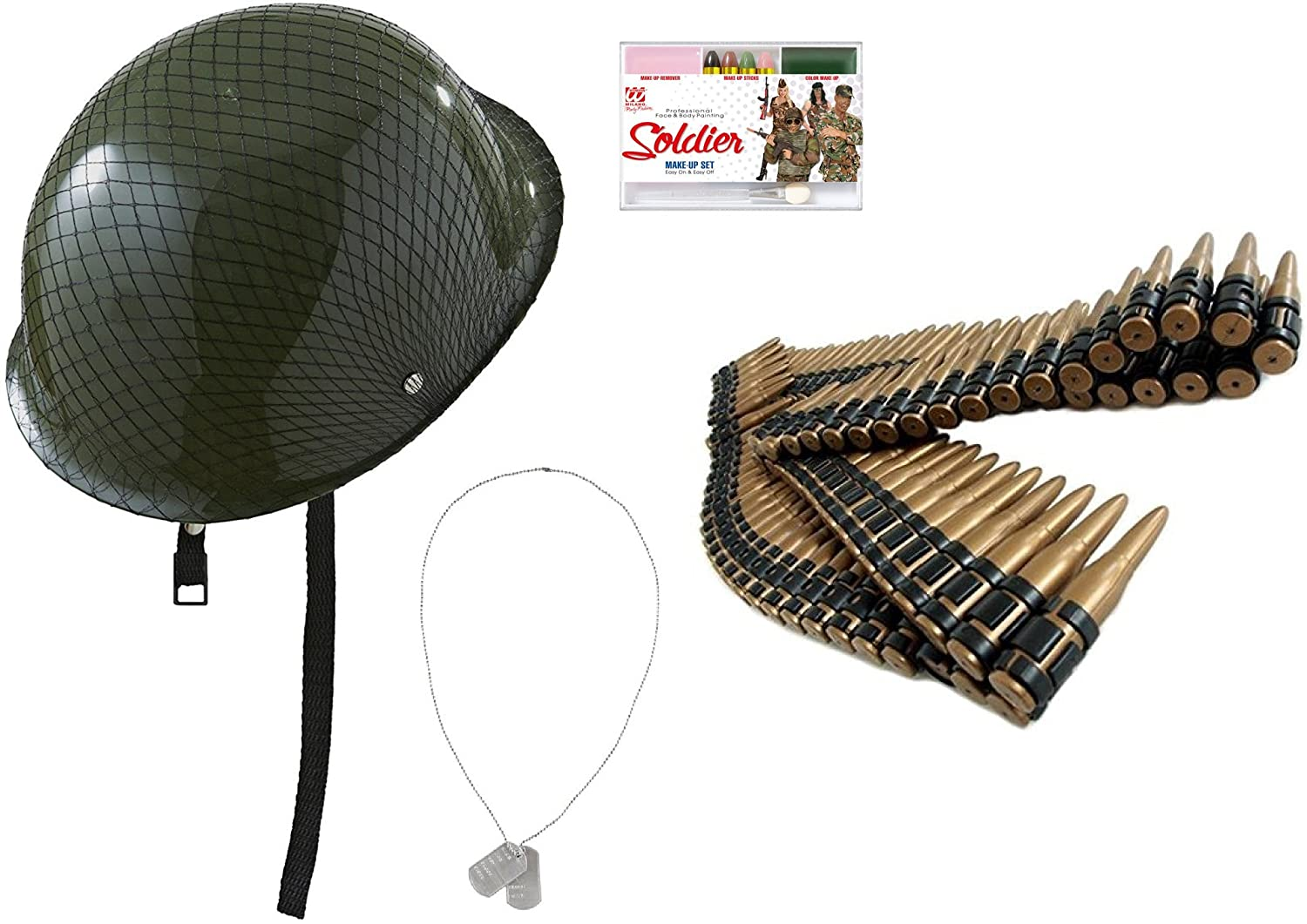 67da3be7f11 Cargo Army Camouflage Military Unisex Green Helmet Hat Plastic Bullet Belt  Metal Dog Tags and Army Military Make-Up Kit Soldier Outfit Uniform Costume  ...