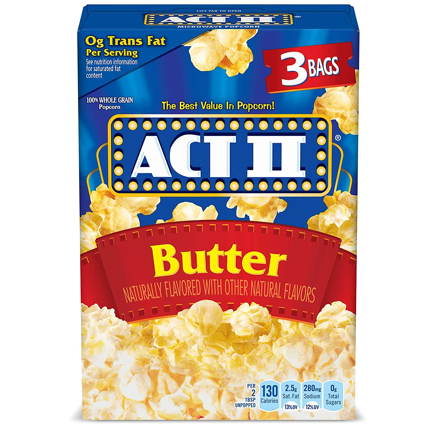act ii butter microwave popcorn 3 count 2 75 oz bags pack of 12
