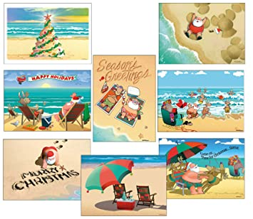 Beach Christmas Cards >> Beach Christmas Card Variety Pack 24 Cards Envelopes 8 Designs 3 Cards Per Design