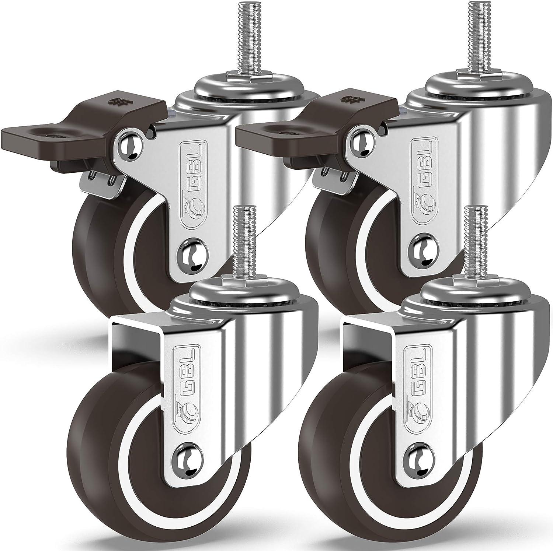 GBL - 4 Ruedas para Muebles 50mm 200KG | M10x15mm Ruedas Giratorias, Rueda Pivotantes, Ruedas de Freno Industrial Con Placa de Montaje