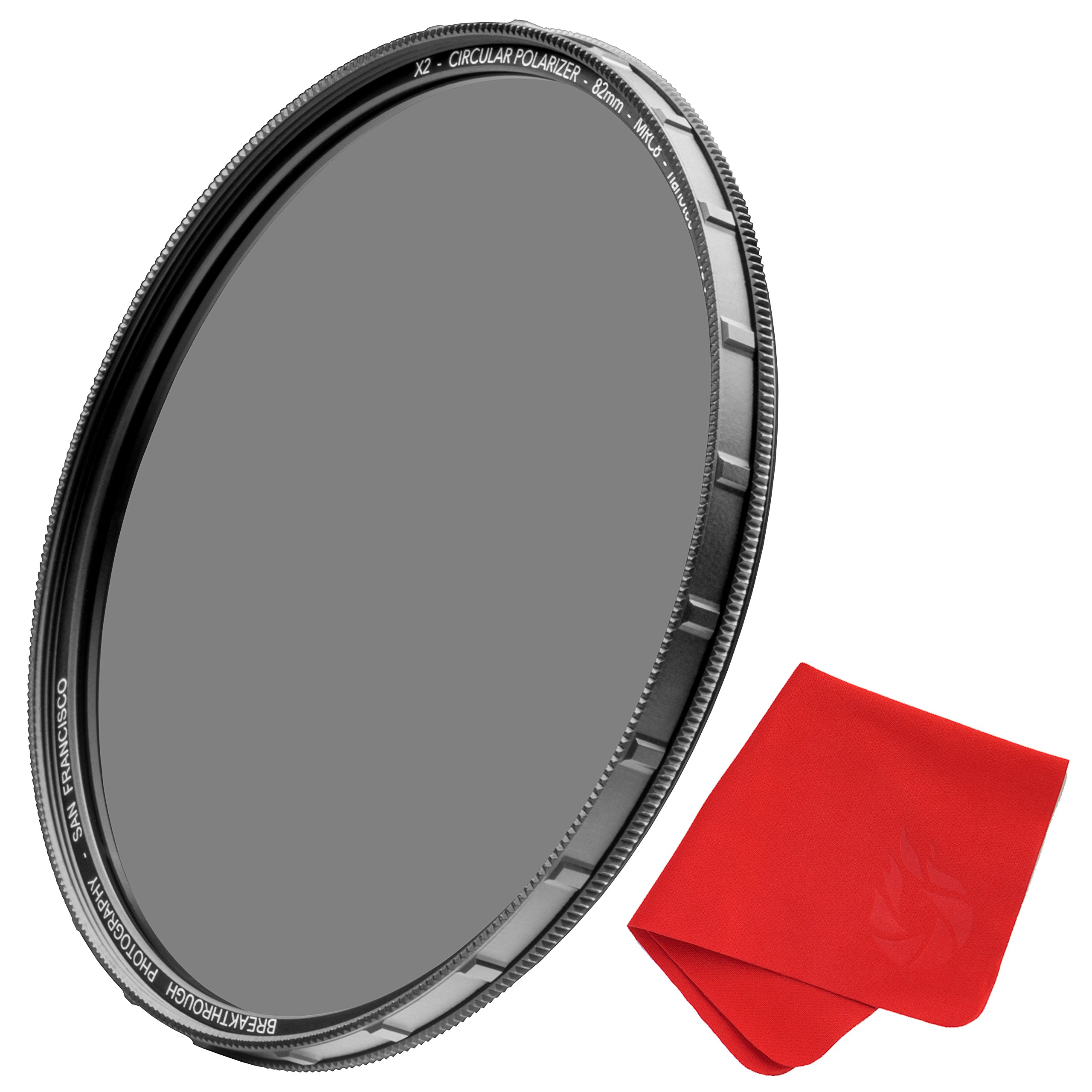 77mm X2 CPL Circular Polarizing Filter for Camera Lenses - AGC Optical Glass Polarizer Filter with Lens Cloth - MRC8 - Nanotec Coatings - Weather Sealed by Breakthrough Photography by Breakthrough Photography