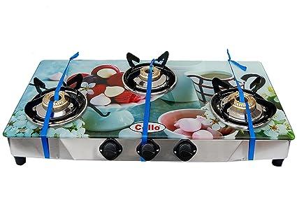 Cello 3 Burner Digital Toughened Glass Top Gas Stove (Dessert)