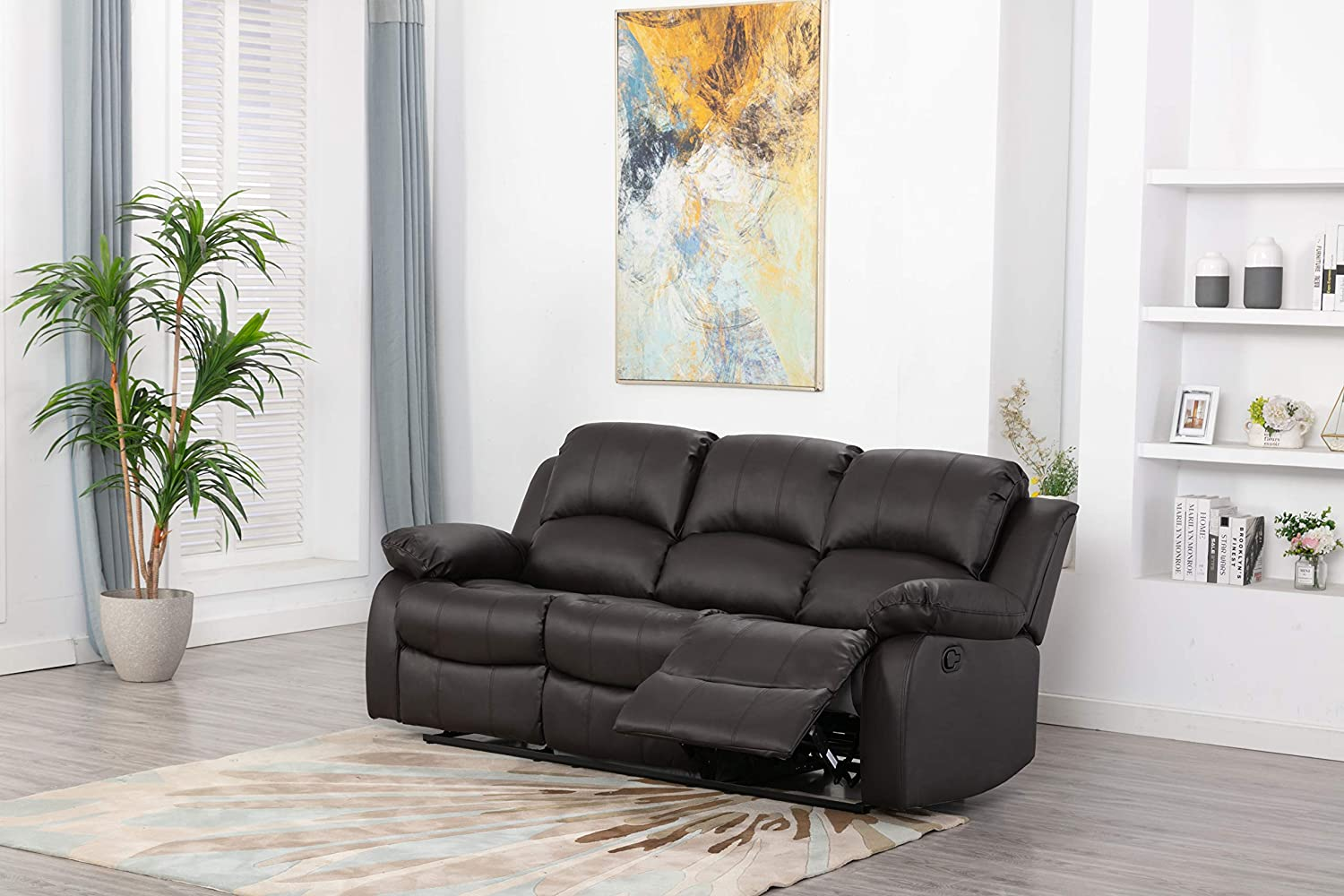 Athon furniture Brown 3 seater, Double Recliner Sofa, Quality Premium Leather settee, Couche suite