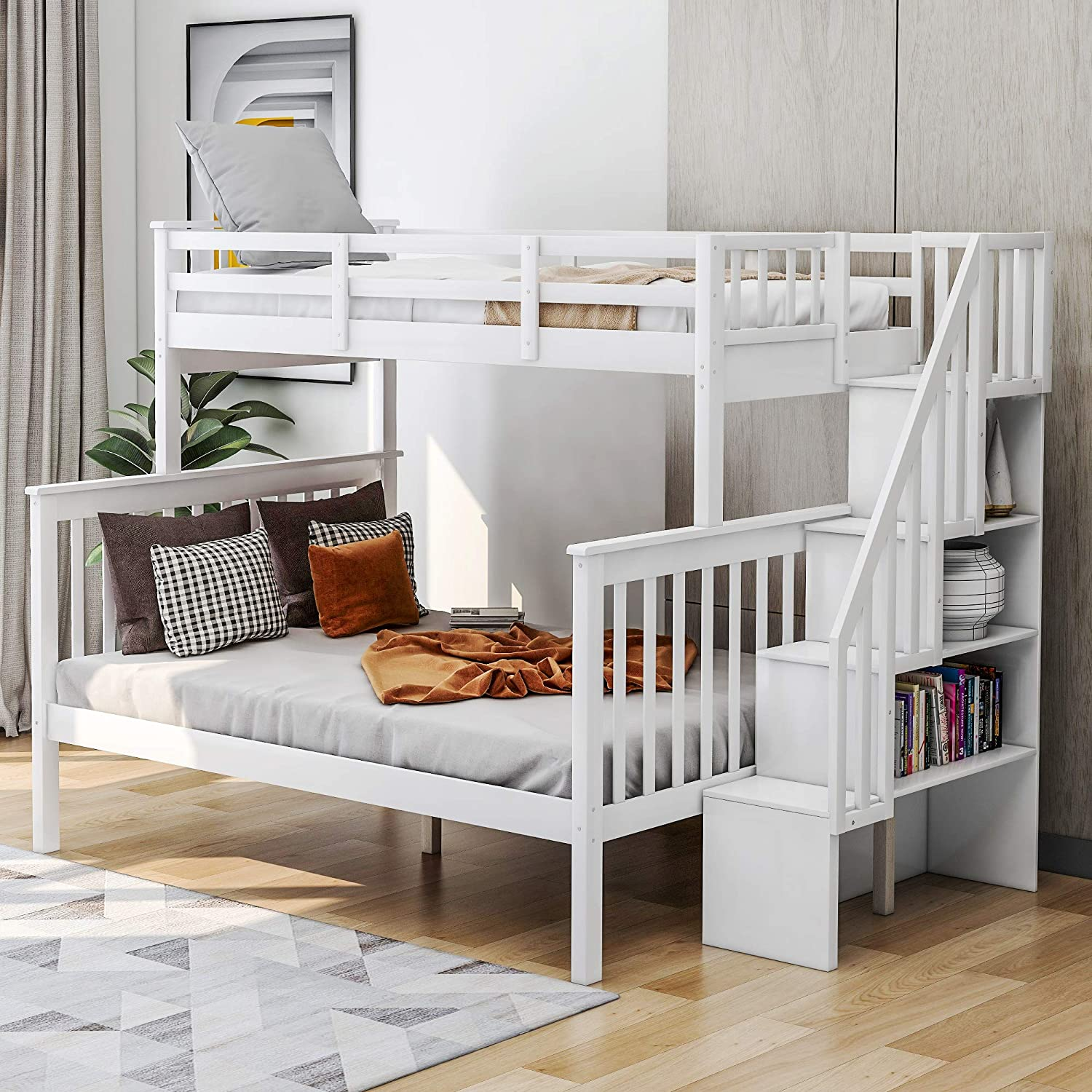Amazon Com Merax Twin Over Full Bunk Bed Solid Wood Bunk Bed Frame With Storage Stairway Guard Rail For Bedroom Dorm Twin Over Full Bunk White Kitchen Dining