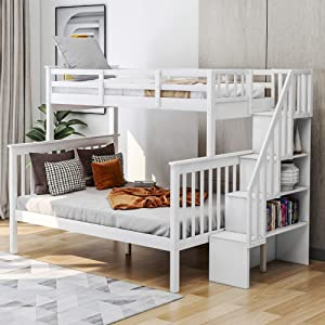 Merax Solid Wood Bunk Bed Frame No Box Spring Needed with Guardrails, Ladder and Storage Stairs for Kids and Teens Platform, Twin/Full, White