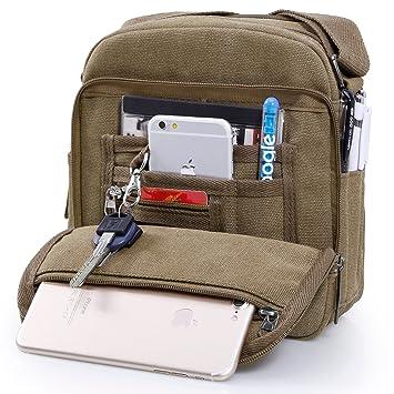 EVERWELL Leisure Retro Canvas Messenger Bag Vintage Military Casual ... 18b39bcba2a0a