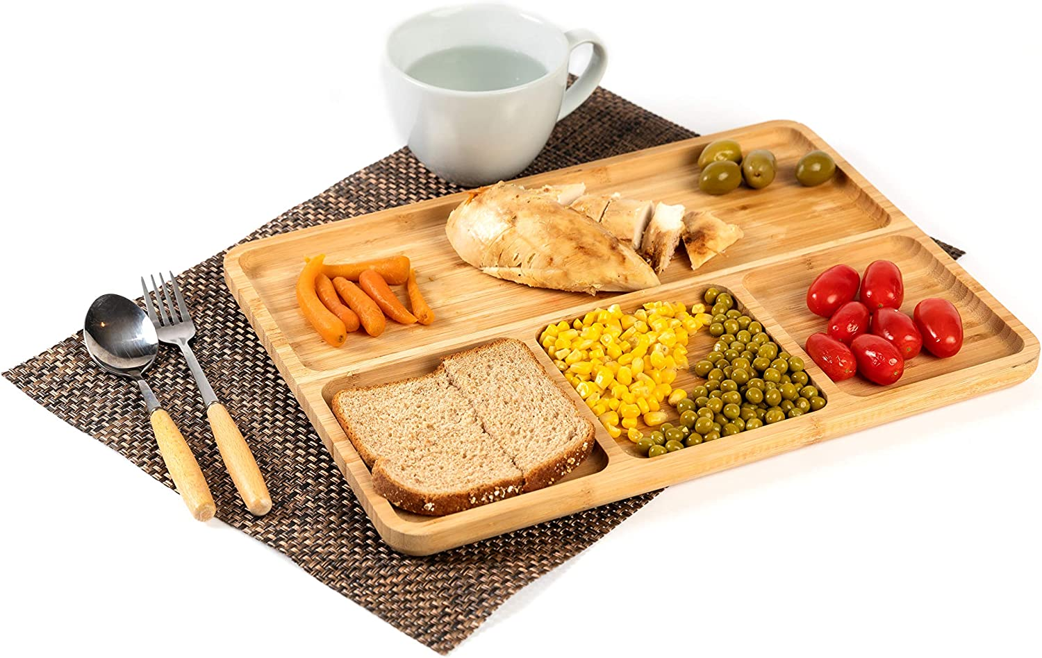 Bamboo portion platters (Set of 2), divided dinner platter for adults, food cubby plate divider, meal portion control plate, wooden plates for kids& adults, balanced meal plate, New Home essentials