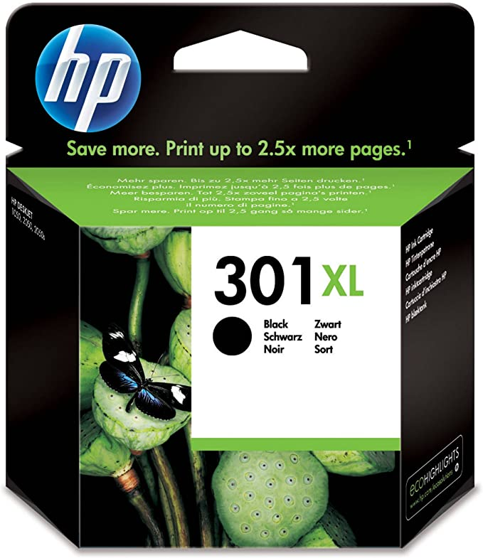 HP 301XL - Cartucho de tinta Original HP 301 XL de álta capacidad Negro para HP DeskJet, HP OfficeJet y HP ENVY & AmazonBasics Papel multiusos para impresora A4 80gsm ...
