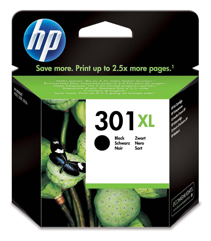 HP 301XL - Cartucho de tinta Original HP 301 XL de álta capacidad Negro para HP DeskJet, HP OfficeJet y HP ENVY & AmazonBasics Papel multiusos para ...
