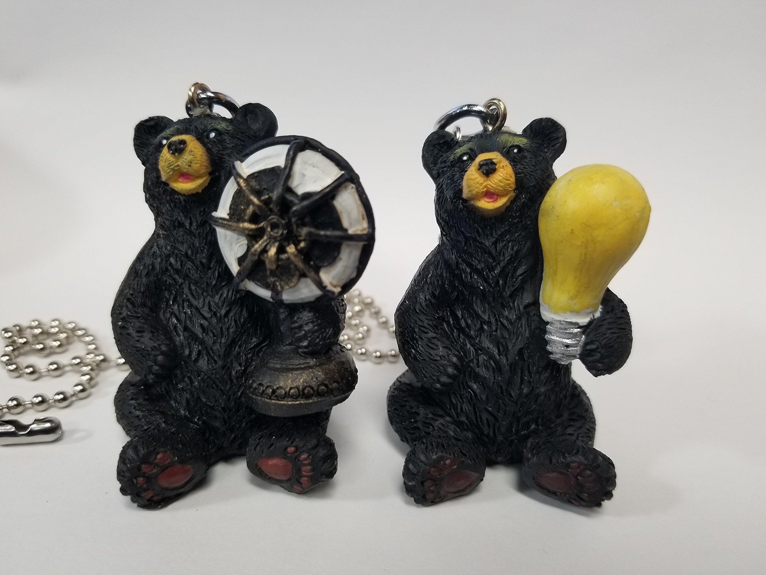 Black Bear Fan & Light Bulb Combo Nickel Pull Chain Set (1 Pair)