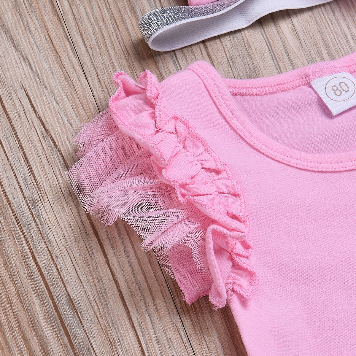 3Pcs Baby Toddler Mesh Sleeve Pink T-Shirt Tops+Floral Shorts+Headband Set