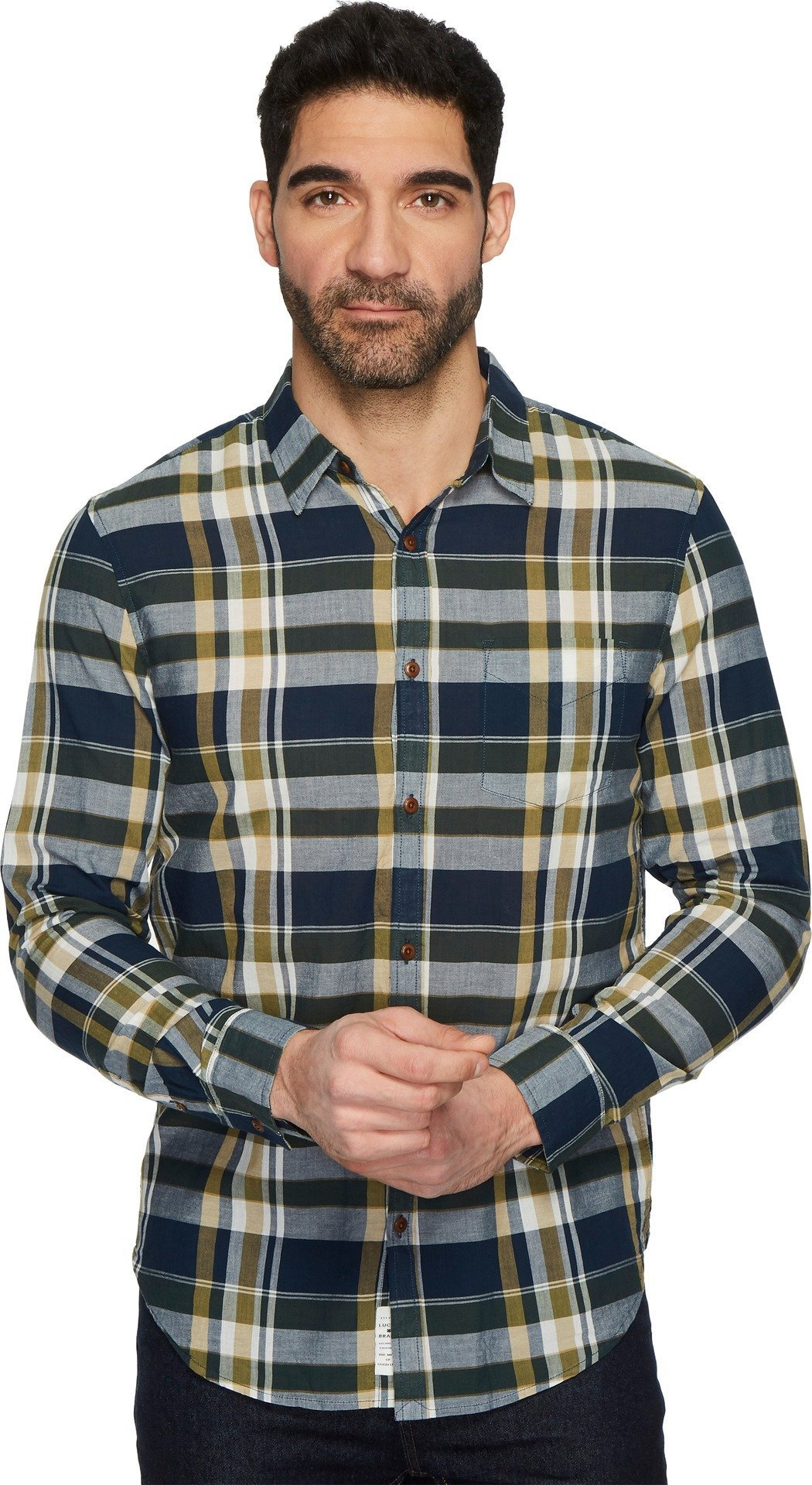 Lucky Brand Men's Casual Long Sleeve Plaid Ballona Button Down Shirt in Multi, Blue/Green, L